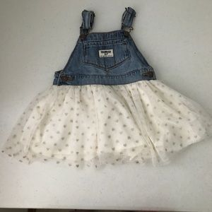 OshKosh Denim Tulle Dress Overalls Hearts Sparkle